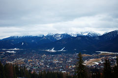 Zakopane Nestled in Tatra Mountains with Farmlands Stock Photography