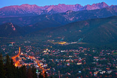 Zakopane at night Stock Photography