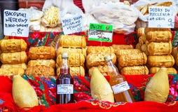 Zakopane, Poland - August 24, 2015: Oscypek smoked cheeses. Stock Photography