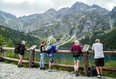 Zakopane, Poland - August 23, 2015: People enjoying lake. Stock Images
