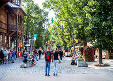 Zakopane, Poland - August 24, 2015: People walking on the Krupowki street. Royalty Free Stock Photos