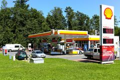 Shell Gas Station in Zakopane in Poland. Zakopane, Poland August 08, 2017: Shell Gas Station that belongs to a global group of oil and gas companies whose stock photography