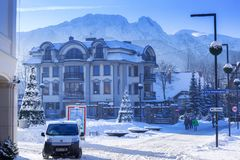 Wooden architecture of Zakopane at winter royalty free stock photography