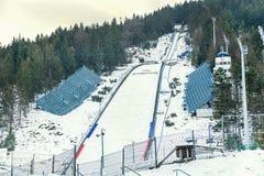 "Zakopane, Poland - February 5, 2017: Complex of ski jump springboards ""Wielka Krokiew"" in Zakopane. Royalty Free Stock Image"