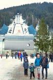 "Zakopane, Poland - February 5, 2017: Main entrance to the complex of ski jump springboards ""Wielka Krokiew"" in Zakopane. Stock Image"