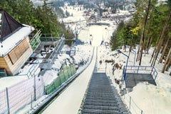 "Zakopane, Poland - February 5, 2017: View from top of the ski jump springboards ""Wielka Krokiew"" overlooking Zakopane town. Royalty Free Stock Image"