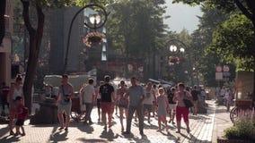 Zakopane, Poland June 2019. krupowki street tourists walking on the street in the summer evening.  stock video