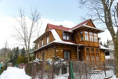 Wooden residential house in Zakopane Royalty Free Stock Photography