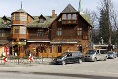 Wooden building that houses a restaurant Stock Image