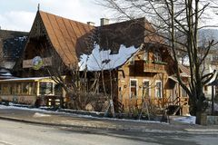 Wooden family house in Zakopane Royalty Free Stock Photo