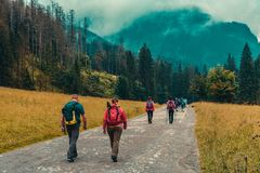 Zakopane / Poland September 09.2018: Hikers walking on the trail. royalty free stock photography