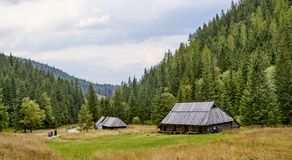 ZAKOPANE, POLAND - SEPTEMBER 10, 2017: Pastoral huts in Jaworzyn Stock Photo