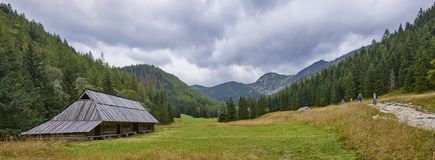 ZAKOPANE, POLAND - SEPTEMBER 10, 2017: Pastoral huts in Jaworzyn Royalty Free Stock Photography