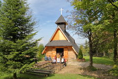 ZAKOPANE, POLAND - SEPTEMBER 16, 2014: Wooden chapel in Gubalowka Hill Zakopane, Tatras Mountains royalty free stock photos