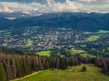 Zakopane Polen, Luchtpanoramafotografie De bergen Tatry van Polen stock foto