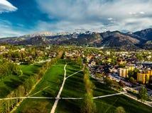 Zakopane Polen, Luchtpanoramafotografie De bergen Tatry van Polen royalty-vrije stock foto