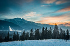 Zakopane during the skiing competitions at sunset in winter Stock Photography