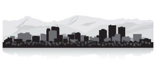 Zakotwienie Alaska miasta linii horyzontu sylwetka Ilustracji
