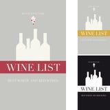 Zakrywa wino listę Zdjęcie Stock