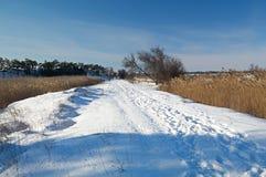 zakrywający ludzie drogi śniegu śladów Zdjęcie Stock