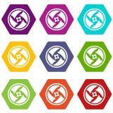 Zakrywający obiektywnej ikony koloru ustalony sześciobok ilustracji