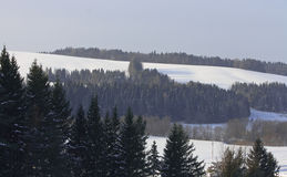 zakrywający wzgórzy krajobrazu śnieg Obraz Royalty Free