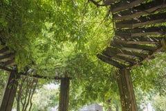 Zakrywający z zielonym drewnianym cienia pawilonem fotografia royalty free