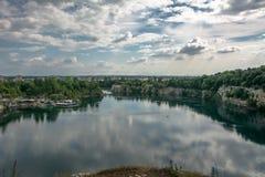 Zakrzowek Lake. Landscape shot of the majestic Zakrzowek Lake in Krakow Stock Photo