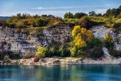 Zakrzowek Reservoir Cliff in Krakow stock images