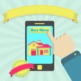 Zakup domowy przez telefonu online Obraz Royalty Free