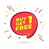 Zakup 1 Dostaje 1 Bezpłatny, sprzedaży mowy bąbla sztandar, rabat etykietki projekta szablon royalty ilustracja