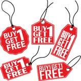 Zakup 1 dostaje 1 bezpłatnego etykietka set, wektorowa ilustracja Zdjęcie Royalty Free