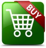 Zakup zieleni kwadrata guzik Fotografia Stock
