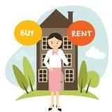 Zakupu lub czynszowego domu domu mieszkania kobieta decyduje wektorowego ilustracyjnego kupienia wynajmowanie ilustracja wektor