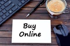 Zakupu online słowa na papierze Zdjęcie Royalty Free