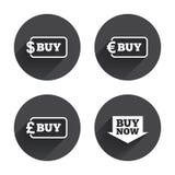 Zakupu teraz strzała znak Online zakupy ikony Zdjęcia Stock