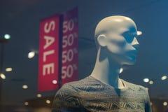 Zakupy centrum handlowego butika mannequin, męski postać portret Obraz Stock