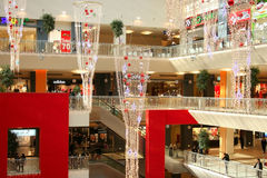 zakupy centrum nowy rok Zdjęcie Royalty Free