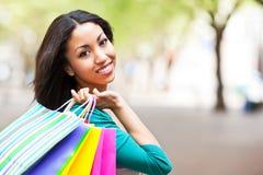 zakupy czarny kobieta Zdjęcie Royalty Free