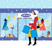 Zakupy dziewczyna - Akcyjna ilustracja modna dziewczyna z zakupami dla twój projekta Obrazy Royalty Free