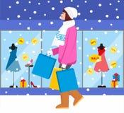 Zakupy dziewczyna - Akcyjna ilustracja modna dziewczyna z zakupami dla twój projekta Zdjęcie Royalty Free
