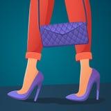 Zakupy dziewczyna trzyma sprzęgło w spodniach i piętach royalty ilustracja