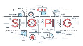 Zakupy, handel elektroniczny, handel detaliczny, sprzedaż, doręczeniowej usługa cienka linia c ilustracji