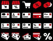Zakupy i bank karty ikony set Obraz Royalty Free