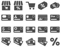 Zakupy i bank karty ikony set Obrazy Stock