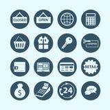 Zakupy i handlu elektronicznego ikony Fotografia Stock