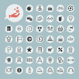 Zakupy i turystyki ikona ustawiająca na błękitnym papierze Zdjęcie Stock