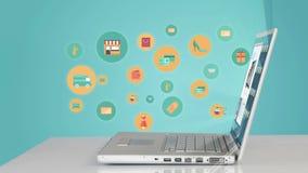 Zakupy ikony strzela up laptopem zbiory