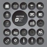 Zakupy ikony ustalone szarość Fotografia Stock