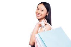 Zakupy jest najlepszy żeńskim zajęciem! Obrazy Royalty Free